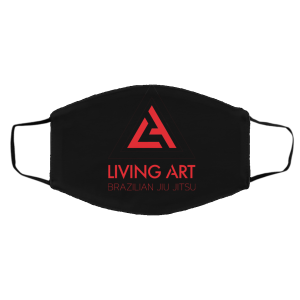 Black branded Living Art Brazilian Jiu Jitsu face mask