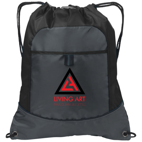 Drawstring bag with Living Art Brazilian Jiu Jitsu Logo on it